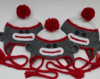 Crochet Handmade Sock Monkey Animal Hat Grey and Red Kids Teen Adult Boy Girl Child toque beanie