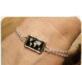 World Map bracelet silver chain Black and White framed in 1 inch frame