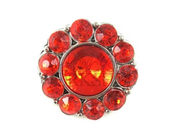 Red - Set of 3 Acrylic 25mm Rhinestone Buttons - AB-086