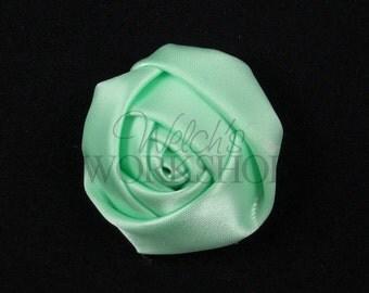 "Mint Green - Set of 3 Mini 1.5"" Satin Rolled Rosettes - MSR-014"