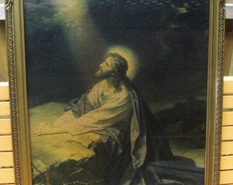 Gethsemane, Framed Vintage Lithograph Jesus Praying at GethsemaneTextured board, Nice