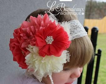 Peach/Coral and Ivory Headband, Photo Prop, Couture Headband, Baby Headband, Newborn Headband, Toddler Headband