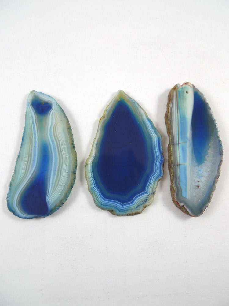 3 blue agate slices pendants gemstone necklace jewelry