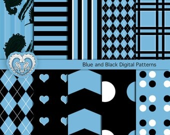 Scrapbooking Paper Goods, Blue and Black Digital Graphic Papers