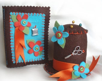 Needlework Set, Pin Cushion and Needle Case, Chocolate Brown Hat Pincushion, Sewing Needle Book, Autumn Colours Sewing Gift