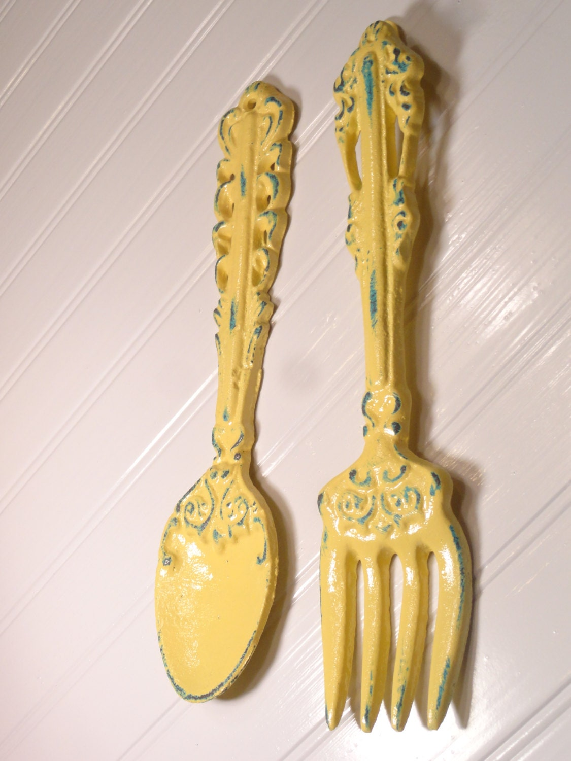 Large Fork And Spoon Set Wall Decor Metal Shabby Chic