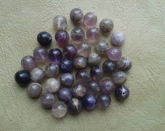 40 Fluorite 10mm Round Beads Ethic and Native American