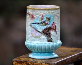 Antique Majolica Spooner, Spoon Holder, Vintage blue, majolica pottery, beautiful, Over 100 pc. Majolica in our shop, please take a look..