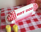 Red White Check gingham Hot dog paper holders red hot dog trays BBQ 4th of July cookouts summer party