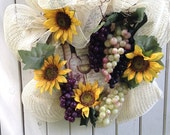 Fall Grapes of Wreath Tuscan inspired Wine Sunflowers wedding wreath autumn harvest country rustic