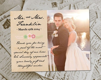 """Wedding Thank You Magnets - RusticFloral Vintage Photo Personalized 4.25""""x5.5"""""""