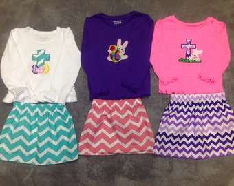 Girls Easter Outfit/ Easter Bunny Shirt/ Easter Cross Shirt/ Easter Egg Shirt/Girls Easter Skirt Set/Girls Easter Dress