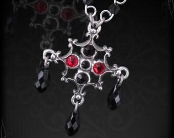 gothic necklace, gothic pendant, with garnet, swarovski, or another gemstone