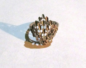 Vintage mid century designer artist signed STERLING SILVER  geometric, unusual, unique RING