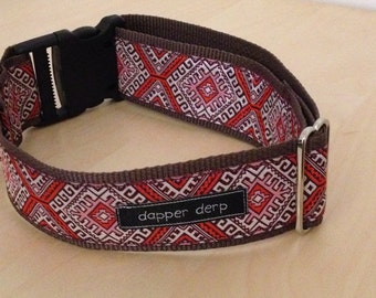"Pink White & Camel 2"" Dog Collar"