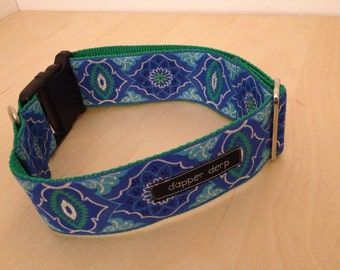 """Blue Green and Silver 2"""" Dog Collar"""