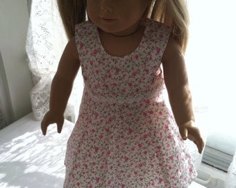 White with pink flowers dress for 18 inch dolls