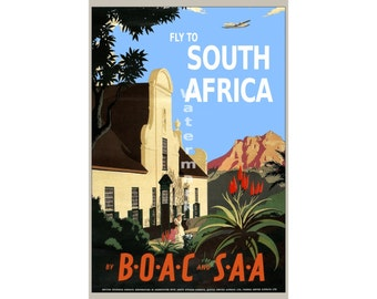 BOAC - Fly to South Africa - Vintage Airline Travel Poster (reproduction)
