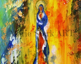 Catholic Art PRINT, Mixed Media Art, Abstract Art, Whimsical Art Painting, Affordable Art Print, Inspirational Art, Our Lady Queen of Heaven