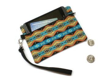 Tribal zippered phone purse wallet wristlet, Southwestern style, tribal coin purse, tribal clutch, under 20 gift, women gift