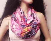 Infinity Scarf  Colorful  Ruffled Knit