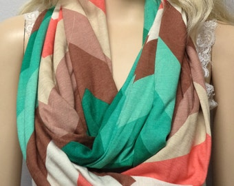 Multi Color Chevron Print  Infinity Scarf  Super SOFT Jersey Knit