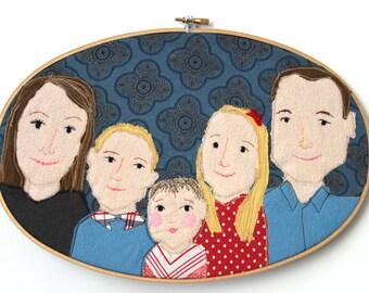 custom portrait portrait embroidery hoop family portrait friends portrait personalized gift
