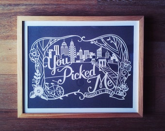 12x18 in Custom Papercut for birthday, wedding, anniversary gift