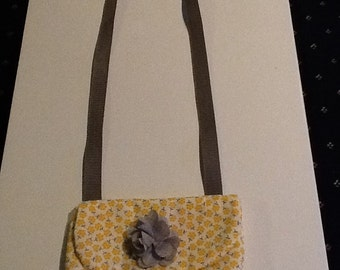Adorable mini cross body bag in the yellow and gray trendy colors