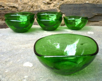 Six French green glass veraco dessert/ sweet bowls/dishes