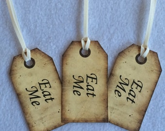 Eat Me - Alice In Wonderland Inspired tags, wedding favours, party favours, set of 10