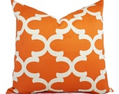 Two Pillow Covers Orange and Beige - Decorative Pillow - Orange Quatrefoil Pillow - Accent Pillow -  Moroccan Tile Pillow - Orange Pillows