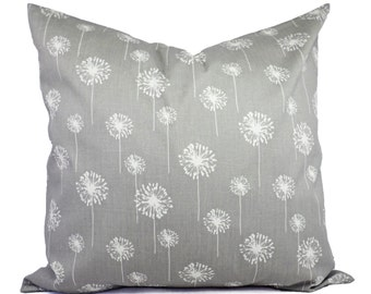 Two Grey Dandelion Couch Pillows - Grey Shams - Grey Pillow Cover - Grey Pillows - Decorative Throw Pillow Cushion Cover Accent Pillow