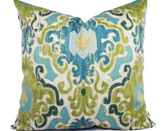 Two Pillow Covers - Blue Green Ikat Pillows - Pillow Covers - Blue Pillow Cover - Decorative Pillow Cover - Green Pillow Cover - Sham