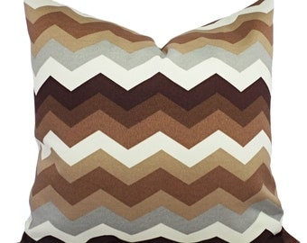 Two Brown and Cream Outdoor Pillow Covers - Brown and Cream Pillow - Chevron Patio Pillow - Accent Pillow - 20x20 22x22 24x24 26x26 12x16