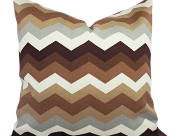 Two Brown and Cream Outdoor Pillow Covers - Brown and Cream Pillow - Brown Chevron Patio Pillow - Brown Couch Pillow - Brown Accent Pillow