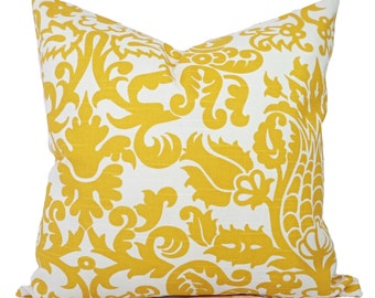 Two  Pillow Covers - Yellow Damask Pillows - Yellow Decorative Throw Pillow - Yellow Cushion Cover - Accent Pillow