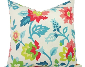 Floral Pillow Covers - Two Pillow Covers in Coral and Teal - Coral and Teal Throw Pillow - Coral Pillow Cover - Teal Pillow Cover