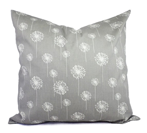 Throw Pillows On Grey Couch : Two Grey Dandelion Couch Pillows Grey Shams by CastawayCoveDecor