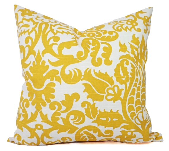Two Pillow Covers Yellow Damask Pillows by CastawayCoveDecor