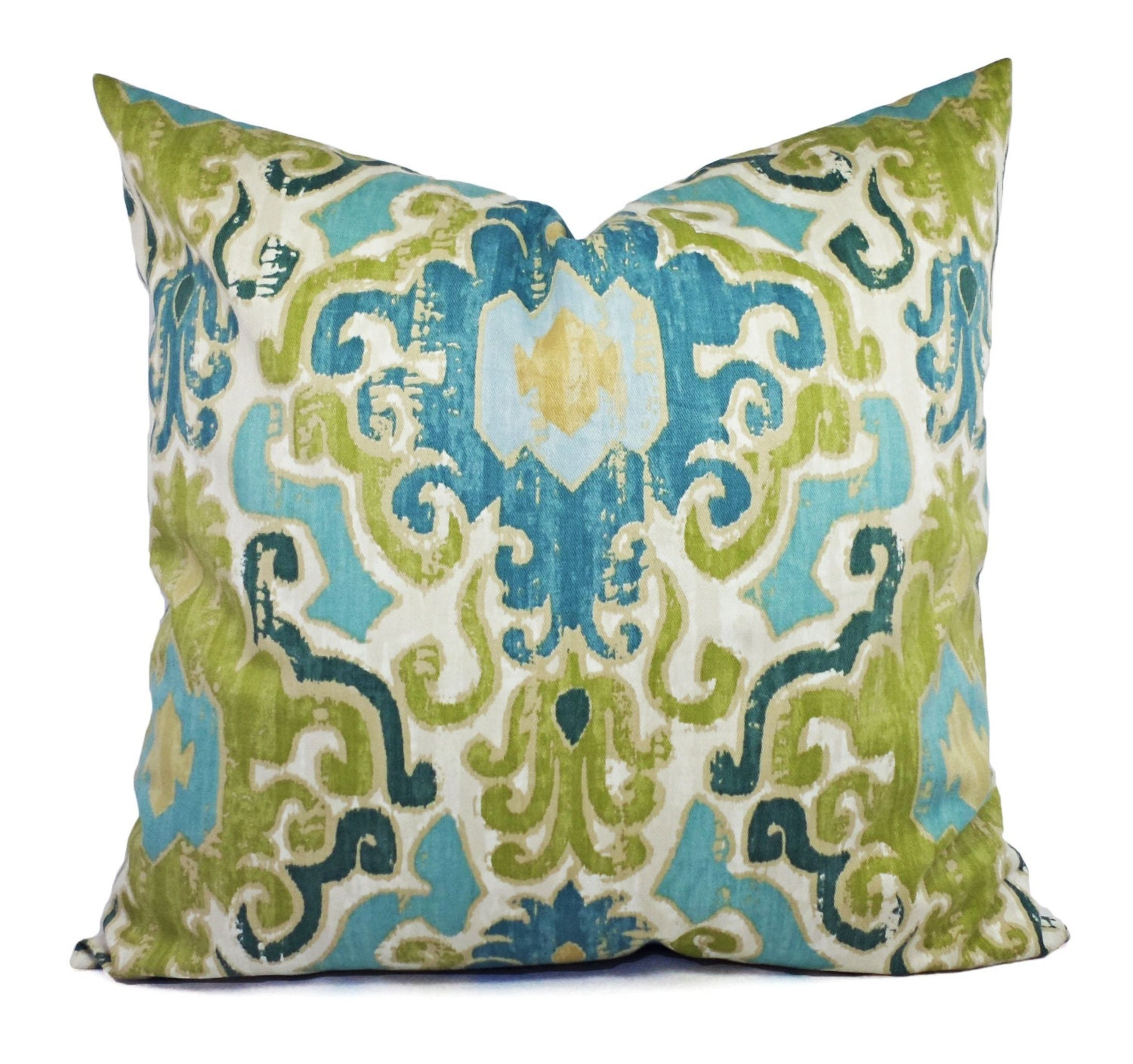 Green Ikat Throw Pillow : Two Pillow Covers Blue Green Ikat Pillows Blue Green