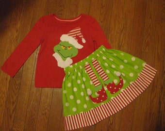 Christmas Grinch Outfit Skirt and Top 8 9 Clearance