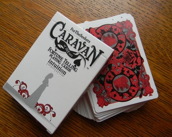 "Caravan of SEE'ers Fortune Telling Playing Cards - red ""intuition"" deck with chart."