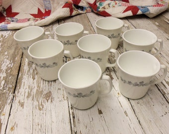 Set of 8 Correlle Coffee Mugs Cups Grey Ribbon Bouquet Pattern Excellent Condition