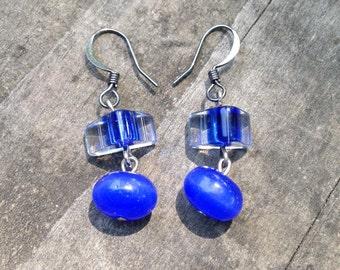 Geometric Royal Blue Earrings