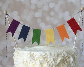 Rainbow Art Party Cake Bunting Pennant Flag Cake Topper-MANY Colors to Choose From!  Birthday, Wedding, Shower Cake Topper