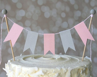 Pink & Grey Shower Cake Bunting Pennant Flag Cake Topper-MANY Colors to Choose From!  Birthday, Shower Cake Topper