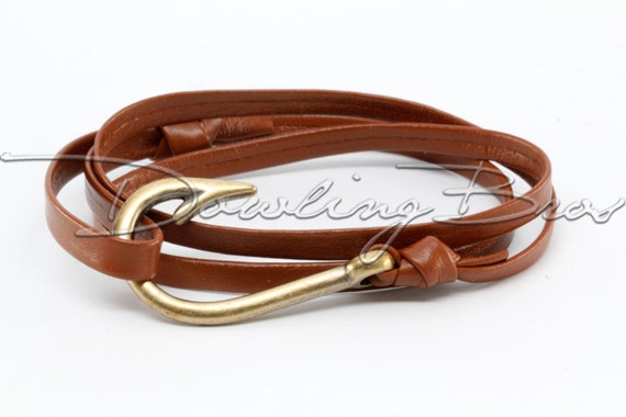 Brown nappa leather fish hook bracelet for Leather fish hook bracelet