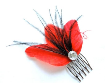 CHERI Red and Black Feather Hair Comb, Purple Bridal Hair Comb