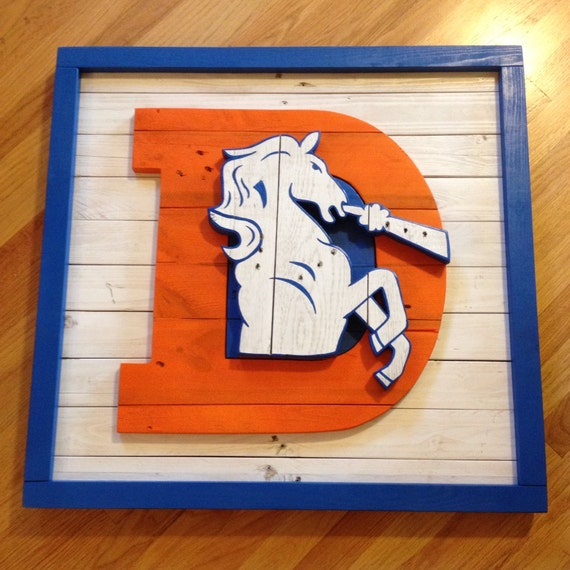 Items Similar To Old School Denver Broncos Logo Wall Art